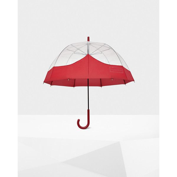 Hunter Womens Red Bubble Umbrella ($60) ❤ liked on Polyvore featuring accessories, umbrellas, red, transparent bubble umbrella, bubble umbrellas, see through umbrella, red umbrella and transparent umbrella