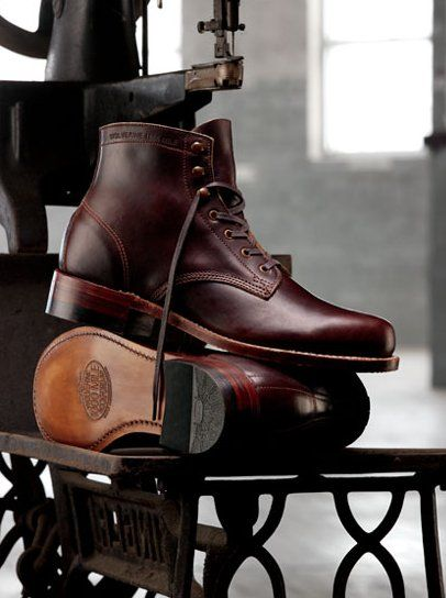 """""""Wolverine 1000 mile boot."""" Those are pretty fancy. Might want to scuff them up a bit so no one gets in their mind to steal them off your feet. Once you get really desperate, you can eat the leather."""