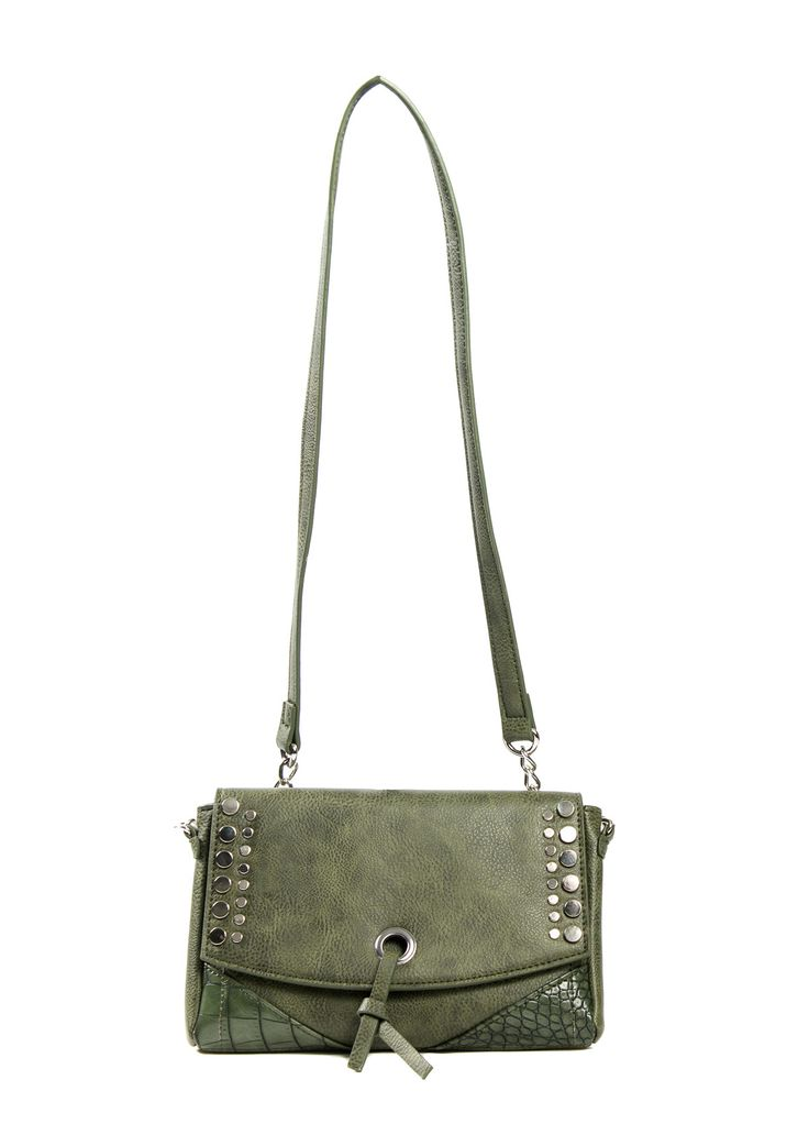 Small flat leather bag with shoulder strap in military green .