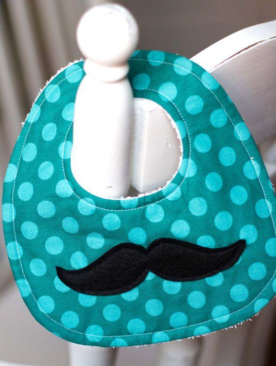 Babero del bebé adorable y elegante bigote por Lullababydesigns