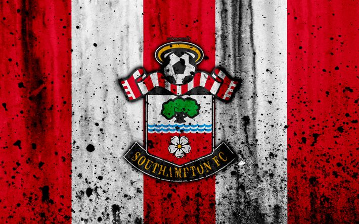 Indir duvar kağıdı FC Southampton, 4k, Premier Lig, logo, İngiltere, futbol, futbol kulübü, grunge, Southampton, sanat, taş doku, Southampton FC