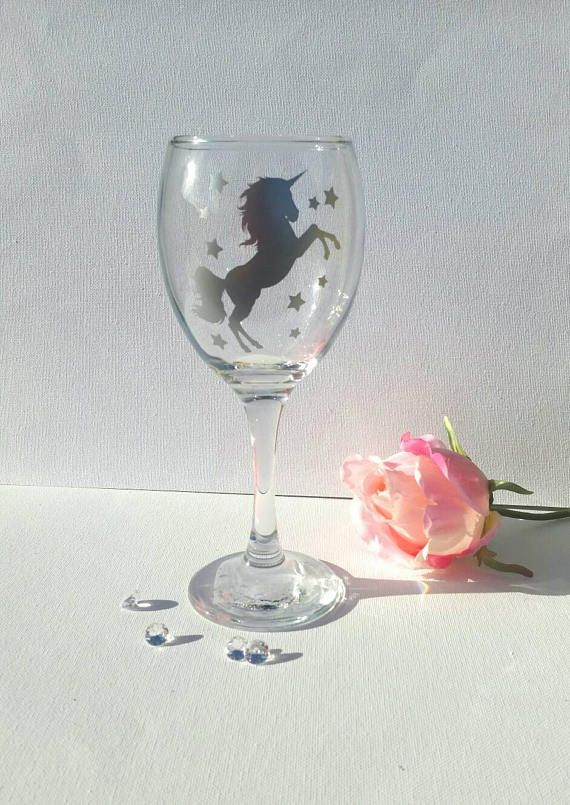 Unicorn lovers wine glass.  Perfect gift for a unicon lover!  Glass stands approx 200mm in height.  More available at: https://www.facebook.com/crafty.claire.5