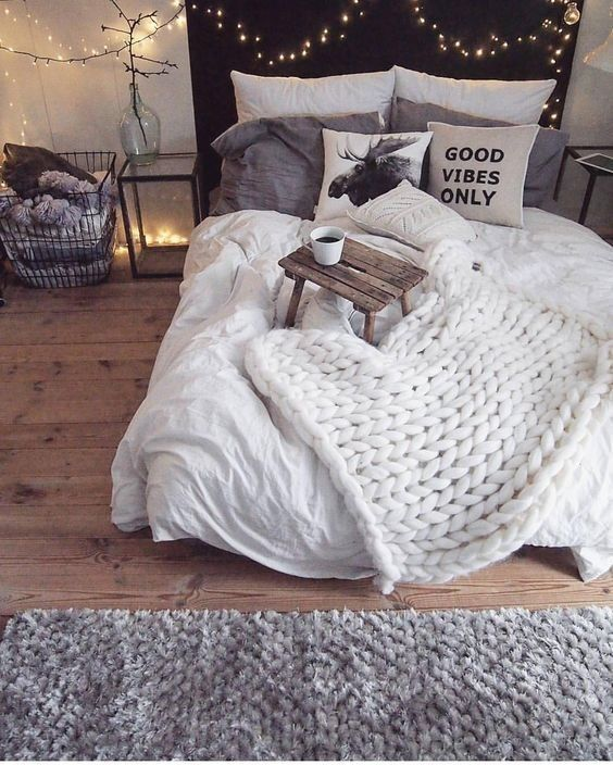 Master bedroom, bedroom, apartment bedroom, rustic, modern, home decor, diy decor, dorm room, cozy, chunky white blanket, headboard, night stand, bed table tray, all white, lights, laundry basket, curtains, king size bed, queen size bed, pillows, plants, wall art, pictures, lighting, candles, white bed spread, white blankets, rugs, hardwood floor, hotel style #afflink