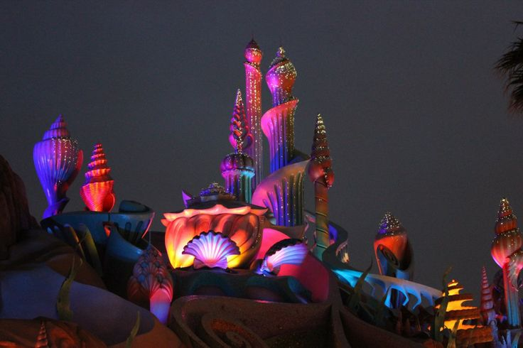 DisneySea Mermaid Lagoon - lit up at night. Tokyo, Japan.