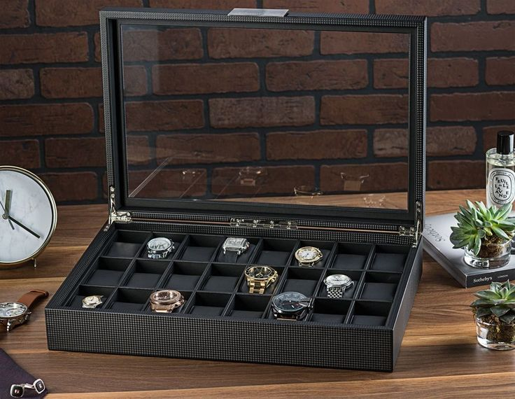 watch box for mentch Box Display Case for Men 24 Slot Mens Jewelry Organizer Leather New #watchescollection #watches+display+case #watch+box #menswatches #luxurywatches
