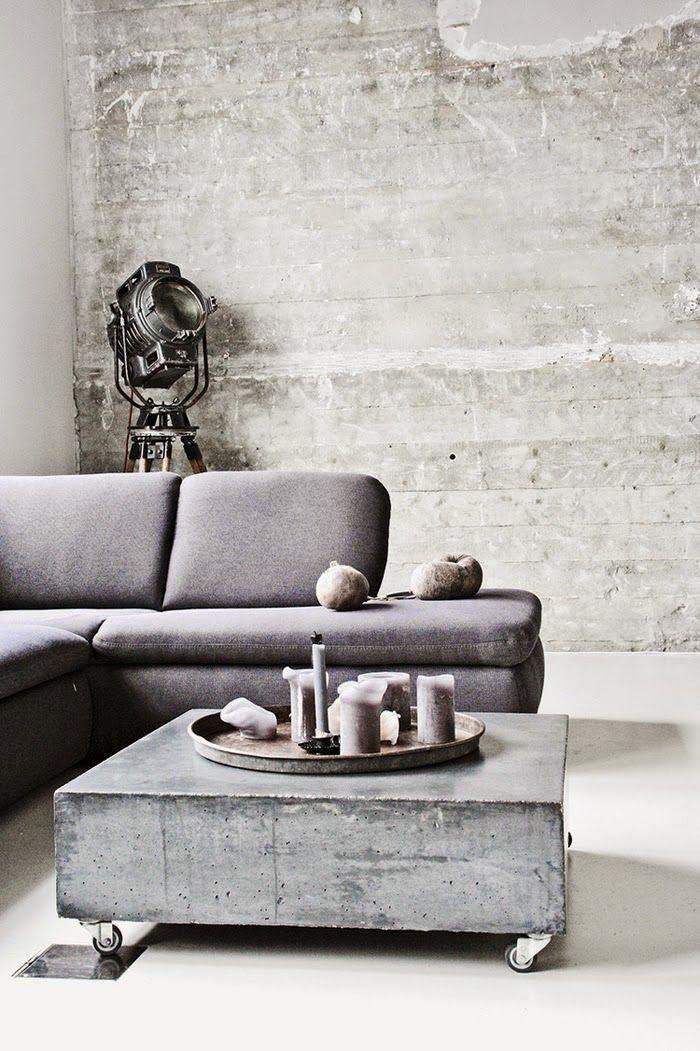 Industriële zithoek met een betonlook behang - Makeover.nl