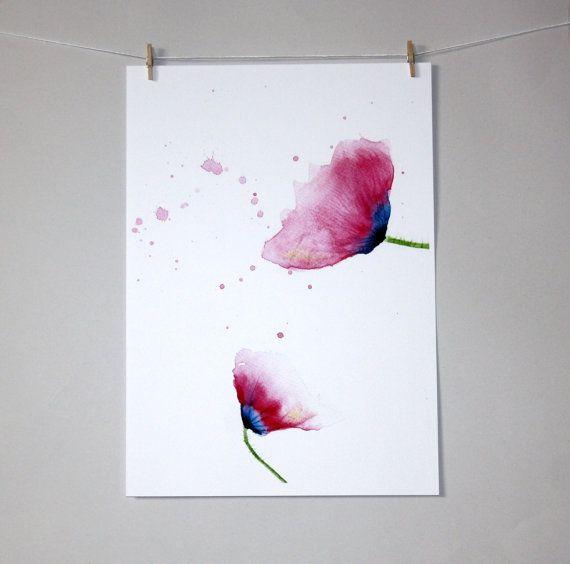 poppy watercolour print, poppy flower painting, wall art, watercolour art