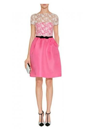Fluorescent color short-sleeved lace dress