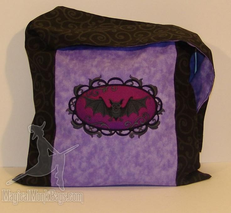Going Batty Purple and Black Swirls Messenger Monk Goth Bag Purse. $35.47, via Etsy.