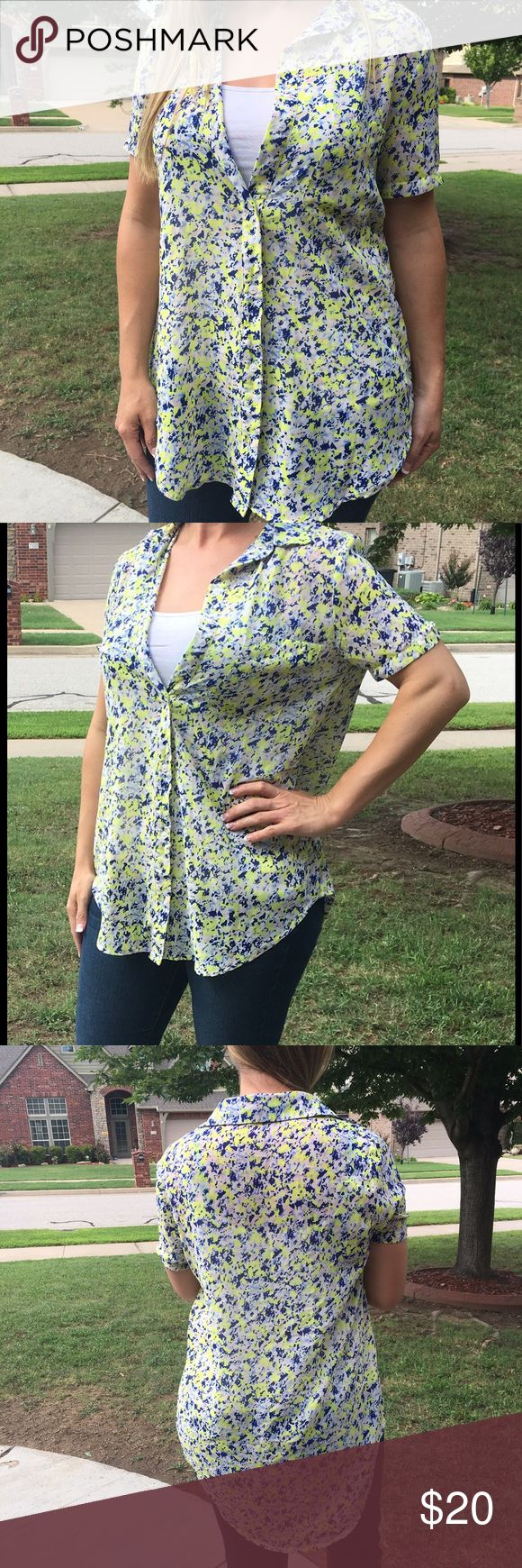 """Eloide Hi-low button up blouse Eloide high low button up blouse in blues and yellow. Lightweight almost sheer, but not quite. Laying flat Underarm to underarm 18"""". Length in front 28"""" Nordstrom Tops Blouses"""