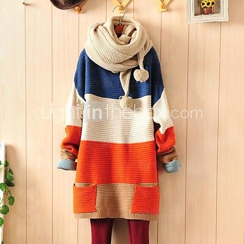 Women's Contrast Color Loose Sweater with Pockets | LightInTheBox