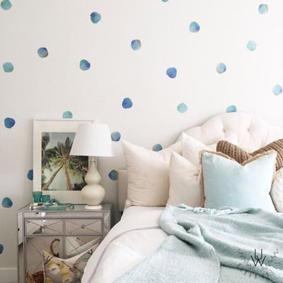 Coral Watercolor Polka Dot Wall Decals - Free Shipping Worldwide Over $99. Each order includes 50 coral polka dots featuring either shades of pink or blue. Order today from UrbanWalls.