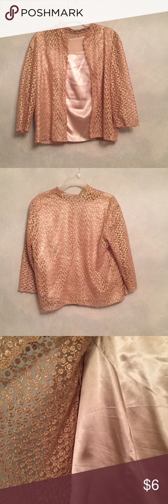Gold cardigan with matching tank top In perfect condition. The size tag has been cut off but it is a size medium. Sweaters Cardigans