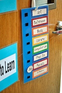 Where are we door hanger is a cute idea for  an elementary school class. It is an effective way to show others the exact location of that particular class. The only downfall to this craft is that someone could change the button confusing other people.