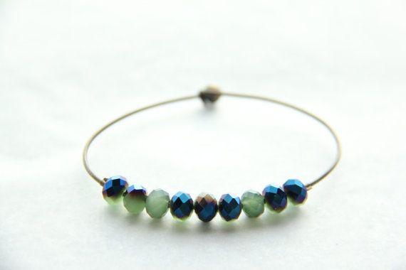 Antique bronze coloured wire bracelet by Somsri on Etsy, $13.00 #somsri #Jewelry #Jewellery #Stone #Crystal #Handmade #Handmadejewellery #Handmadejewelry #Gemstone  #Blue #Green #Bluebracelet  #Greenbracelet #Beaded #Bracelet #Beadedbracelet #Crystalbeads #Wire #Wirebracelet