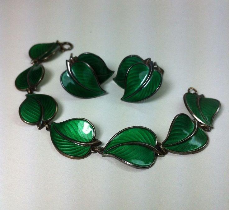 Bernard Meldahl Norway Sterling Silver Enamel Leaf Bracelet & Earrings Set  '40s