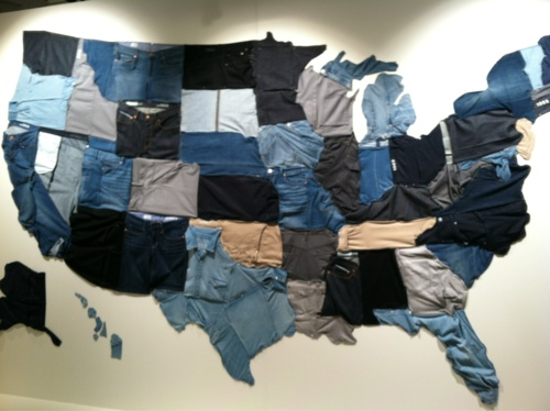 United States of Denim on the wall at Gap- thought this was pretty cool - Denim....a USA FASHION Forever!!