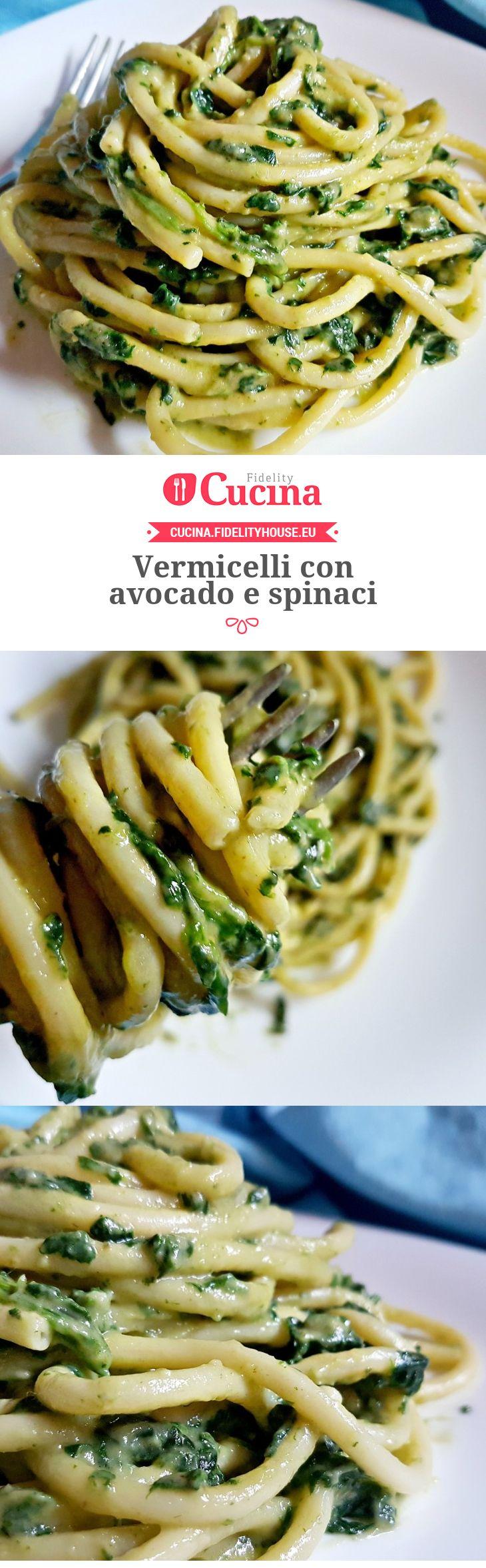 Vermicelli con avocado e spinaci della nostra utente Monica. Unisciti alla nostra Community ed invia le tue ricette!