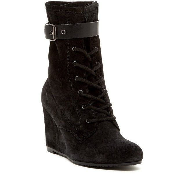Andre Assous Fergie Wedge Boot ($120) ❤ liked on Polyvore featuring shoes, boots, ankle booties, ankle boots, black suede, wedge ankle boots, black booties, lace up wedge bootie, black wedge ankle booties and lace-up wedge booties