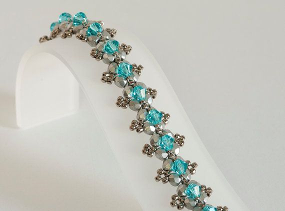 Seed Bead Bracelet in Light Turquoise by KKbraceletsandmore