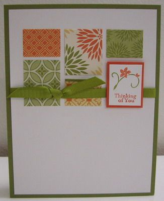 I can see a lot of potential for such a simple card.  Use up all the scraps!  Cut lots of rectangles and one pretty one.