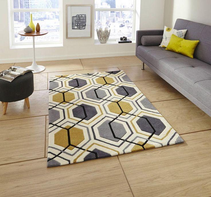 Hong Kong Grey Yellow Mustard Ochre Geometric Geo Hand Tufted Rug Rugs Mats Mat in Home, Furniture & DIY, Rugs & Carpets, Rugs | eBay