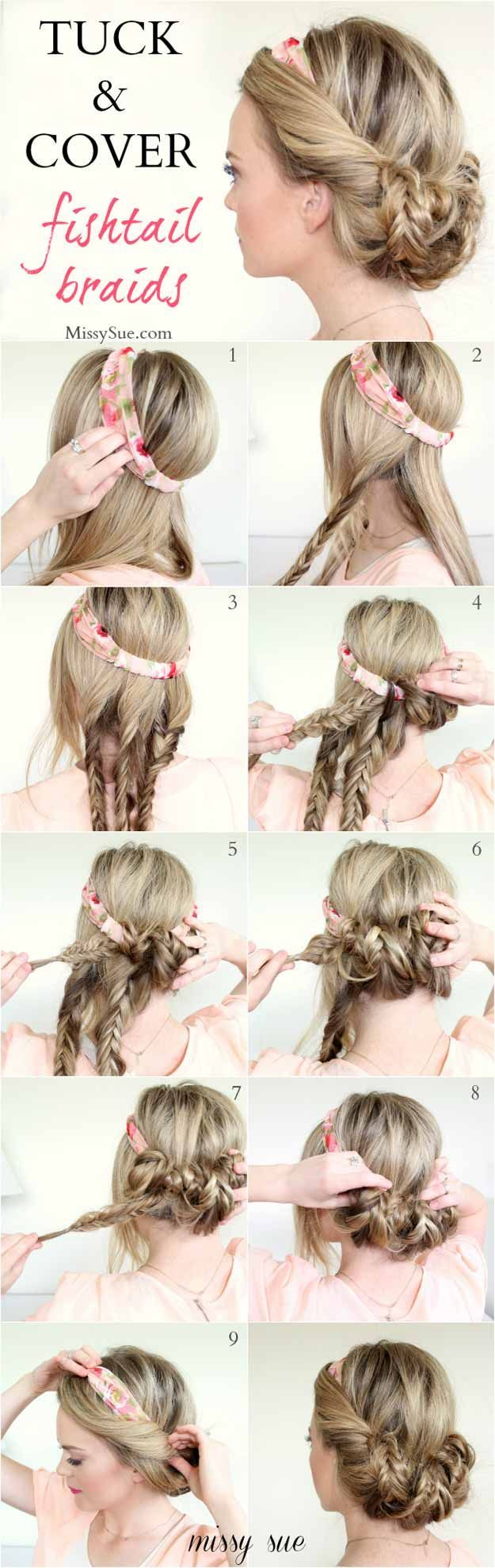 Cute Hairstyles You Can Do With a Scarf – Tuck and Cover Fishtail Braids – Try …   – Frisuren