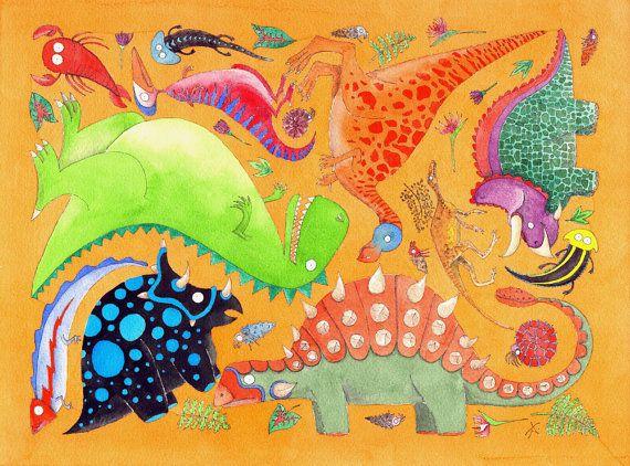 Disegno per bambini  Dinosauri su sfondo giallo  di SadlerAlison