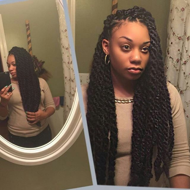 Thick Marley twists hairstyle