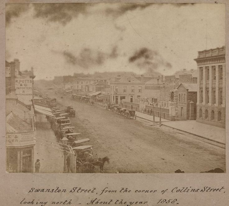 Circa 1858, this albumen silver photographic print shows an elevated view looking down street with buildings on either side, and with horses and carts parked at the side of the street. Learn more about this image, or download a hi-res copy, by visiting our catalogue: handle.slv.vic.gov.au/10381/73897