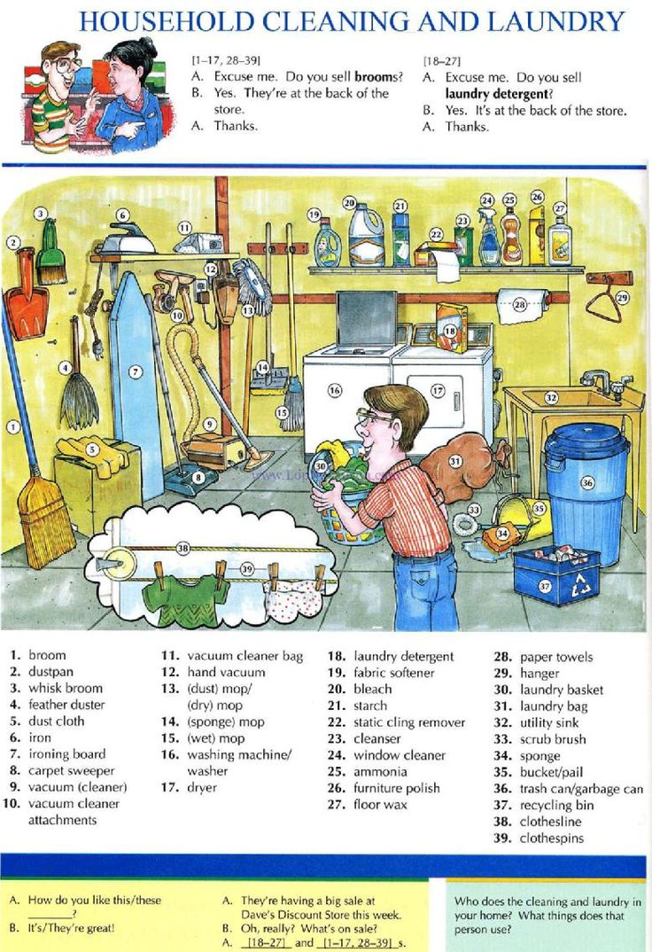 HOUSEHOLD CLEANING AND LAUNDRY - Pictures dictionary -         Repinned by Chesapeake College Adult Ed. We offer free classes on the Eastern Shore of MD to help you earn your GED - H.S. Diploma or Learn English (ESL).  www.Chesapeake.edu