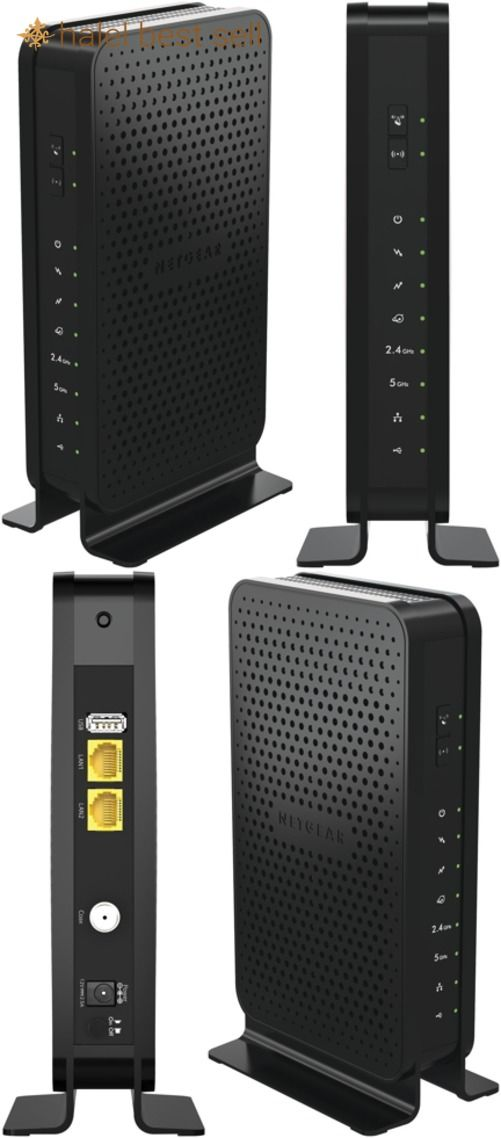 Netgear N600 2-In-1 Cable Modem Wi-Fi Router For High-Speed Internet Connection.