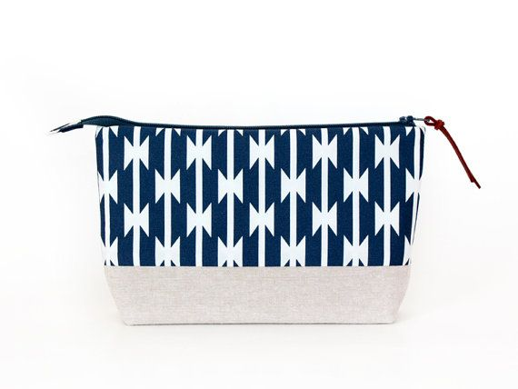 Navy Blue Makeup Bag with Waterproof Lining by MadeOnMainVT