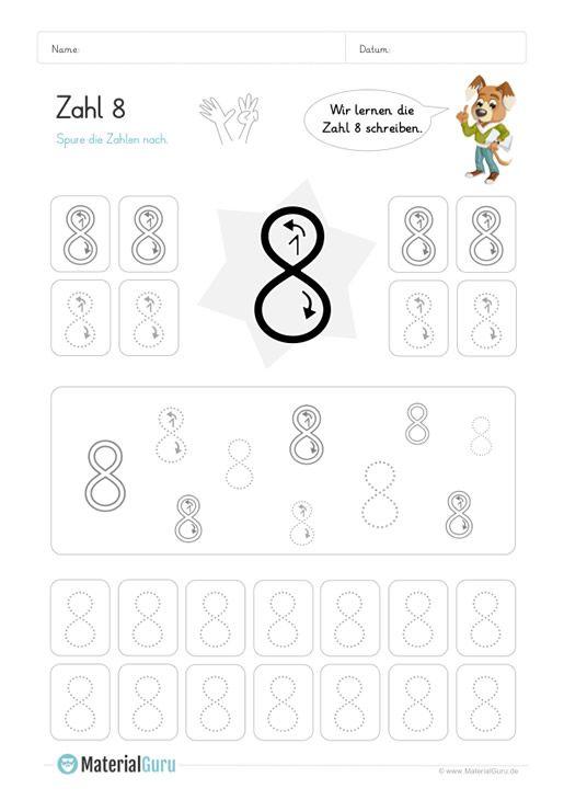 Ein kostenloses Mathe-Arbeitsblatt zum Schreiben lernen der Zahl 8 ...