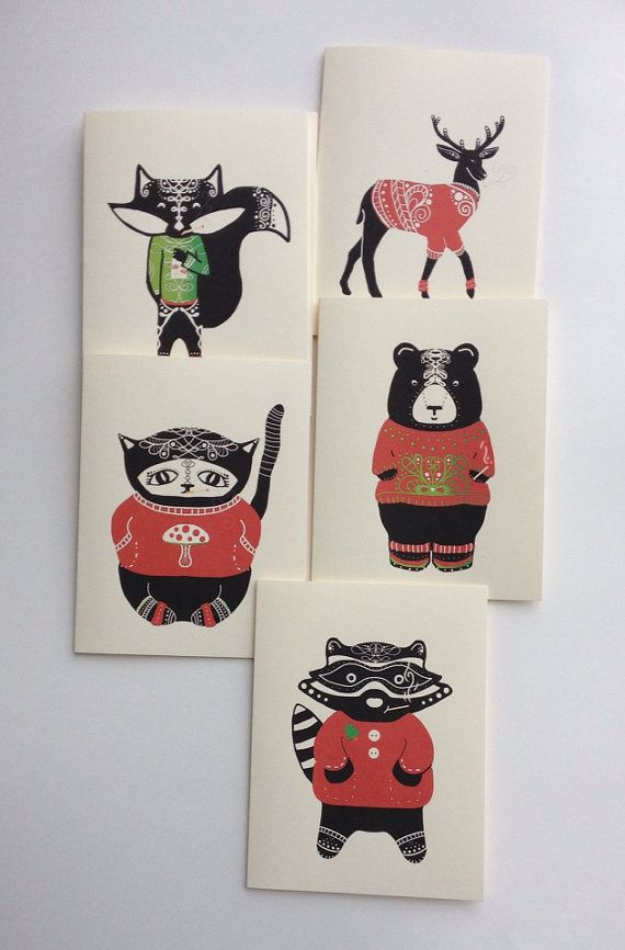 Forest Animals in Christmas Sweaters Smoking by DoodleButton