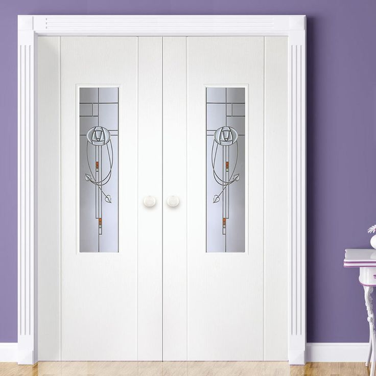 Contemporary Grained Pvc Door Pair, MacIntosh Nairn Style Glass, no more painting with these interior pvc door pairs, wipe clean with a damp cloth. #pvcinternaldoors #pvcdoors #whitepvcdoors