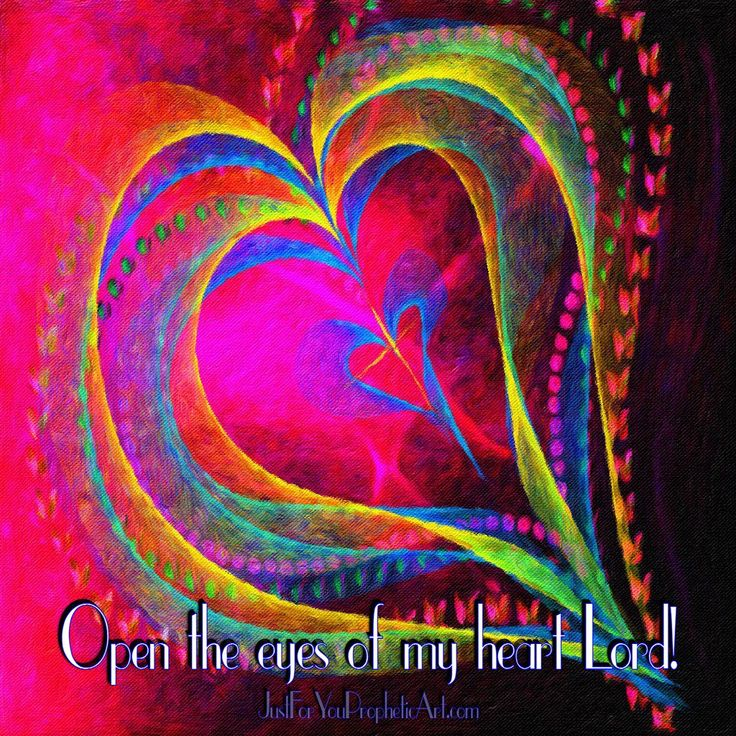 "Rainbow colored heart with cross digital Prophetic Art with quote, ""Open the eyes of my heart, Lord!"" by Pam Herrick (@JFYpropheticArt) 