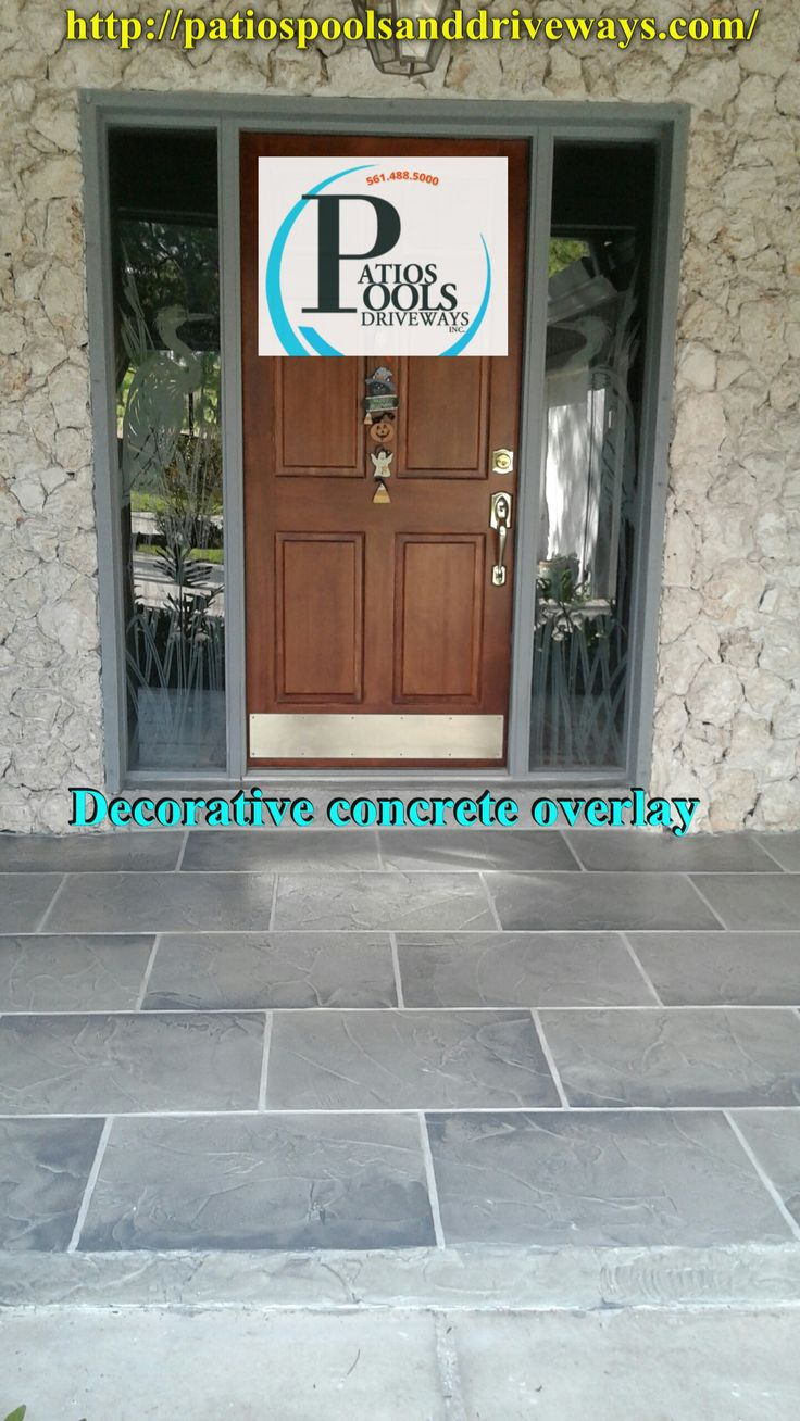 Decorative concrete overlay is used here for this entryway remodeling job. Great color and style combination really adds great flare to this area. Want to learn more about how we can help you with your renovation project? If so, give us call @ 561-488-5000.  #decorativeconcrete #decorativeoverlay #concrete #entryway