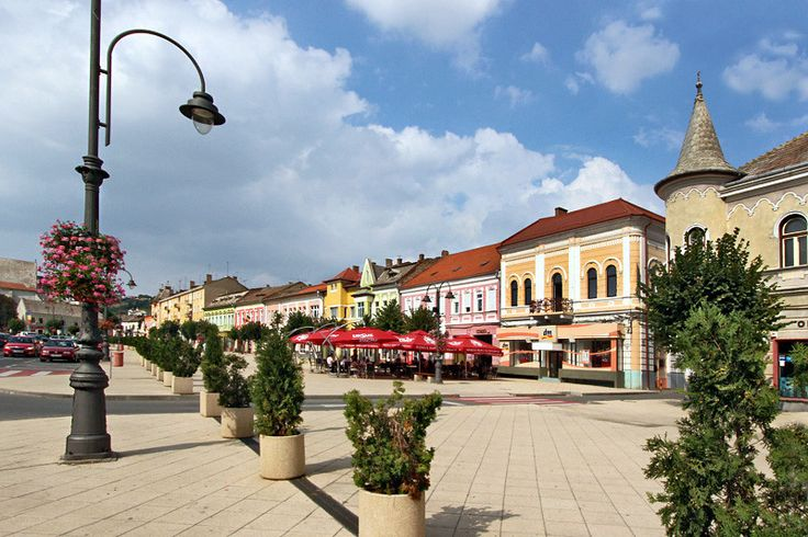 Historic houses line the main square in the charming town of Turda Romania, best known for its Salina Turda Salt Mine