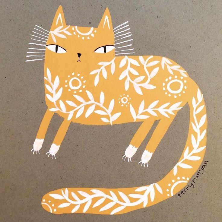 Fancy yellow #gouache kitty By terry runyan
