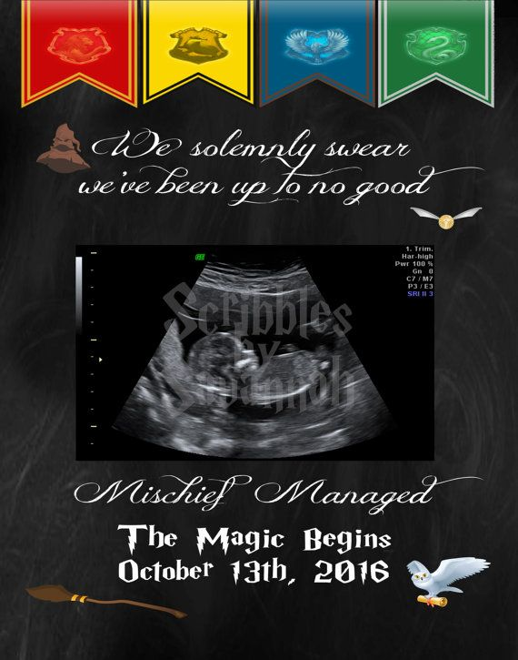Pregnancy Announcement Card - Harry Potter - 5x7 in size     In the Note to Seller upon check out of your order please include all the