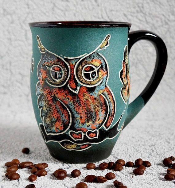 Ceramic Mug Owl Large Coffee Mug For Women Coffee Cup Mom Gift Green Owls Mug Oak Leaves Stoneware Mug Ceramastudio Coffeecup Owl Coffee Owl Mug Mugs