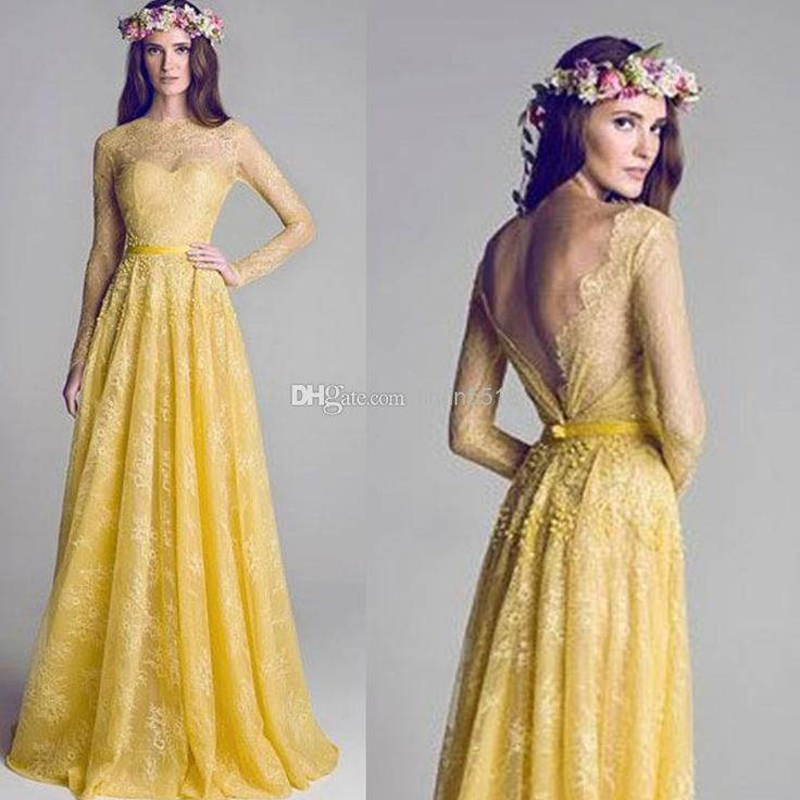 Wholesale Prom Dresses - Buy 2014 New Illusion Neckline Backless Yellow Lace A-Line Long Sleeve Prom Dress Evening Gowns Bridesmaid Party Dresses Celebrity Dress Gradu, $123.58 | DHgate