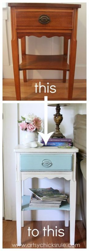 Thrifty End Table Makeover - Chalk Paint - Before and After