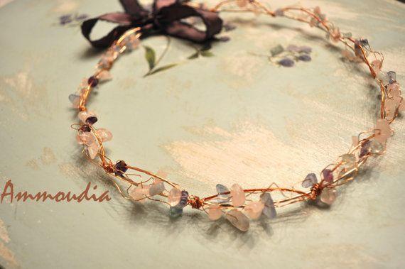 Fairytale wedding wreaths - wedding crown - orthodox stefana gamou - bridal hair accessories - copper and gemstones - set of two