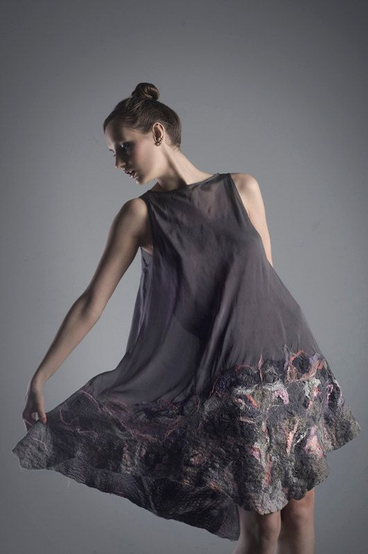 Silk dress with felting by OlgaPOKRYWKAfashion