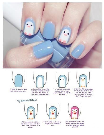 Penguin nail art, easy cute. Use whatever nail polish you like decorate those nails!