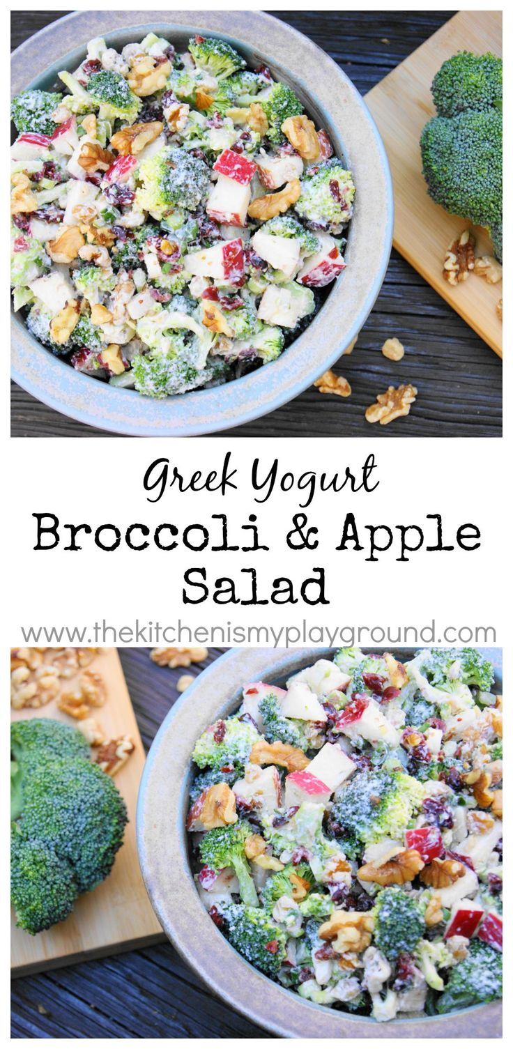 Broccoli & Apple Salad ~ made with Greek yogurt. www.thekitchenismyplayground.com
