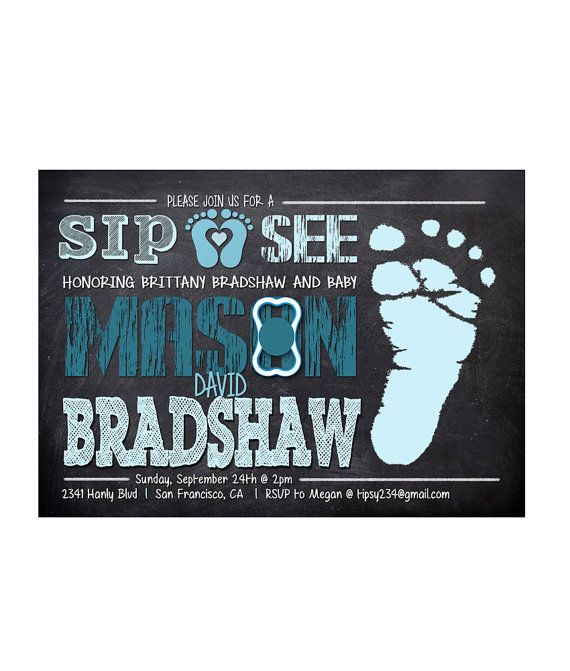 Baby Boy Sip and See Invitation / Sip and See by partyprinters