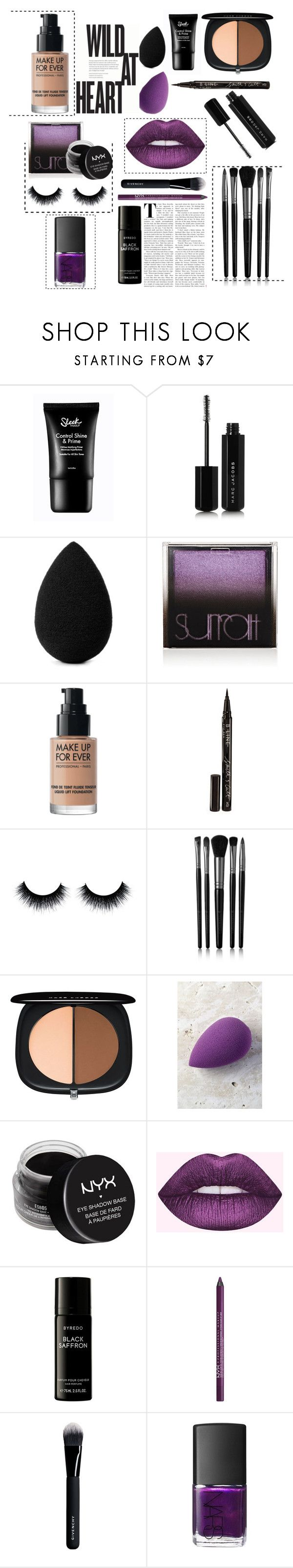"""""""Makeup trend: Edge"""" by iamatortoise ❤ liked on Polyvore featuring beauty, Marc Jacobs, beautyblender, Surratt, MAKE UP FOR EVER, Smith & Cult, Illamasqua, NYX, Liberty and Givenchy"""